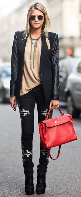 * Wear the boho look to work with a structured bag for a smart but sassy outfit. The statement necklace is a must layered up and try to keep accessories silver. This blazer with leather sleeves is bang on trend and the ankle boots add sexy feet to this care free look. #autumn