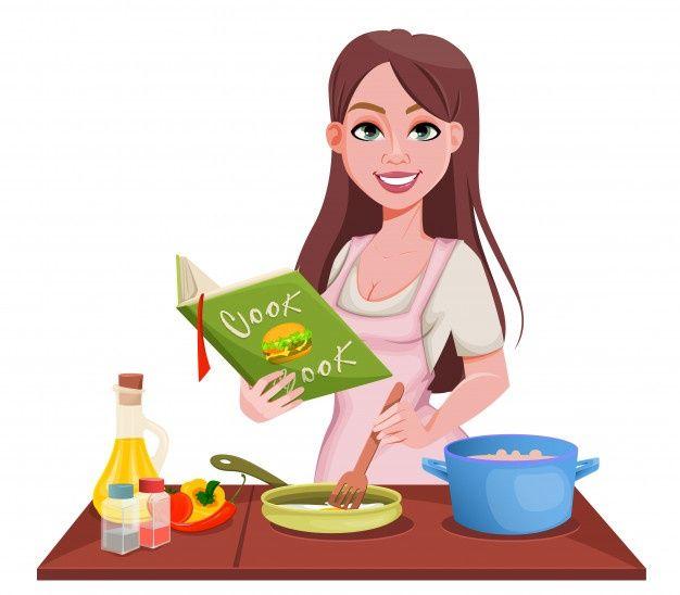Cute Bakery Chef Girl Gusto Sonriente Logotipo De Ilustracion De Arte De Dibujos Animados Vector Premium Panaderia Bonita Chico Dibujos Animados