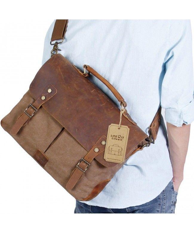 Lifewit Messenger Shoulder Bags Leather Vintage Canvas Laptop Briefcase Coffee