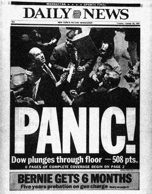 """Daily News' article about Black Monday 1987. """"Panic! Dow plunges through floor - 508 pts."""""""