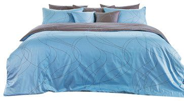 Modern Sky Blue & Brown Swirl Queen Duvet Cover Set, Queen contemporary-duvet-covers