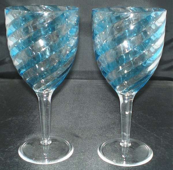 Set of 2 blue swirl acrylic 14 ounce wine glasses goblets for Acrylic paint on wine glasses
