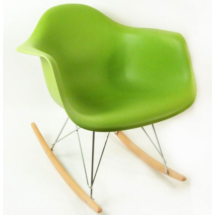 Mid Century Modern Reproduction RAR Molded Plastic Rocking Chair   Green  Inspired By Charles And