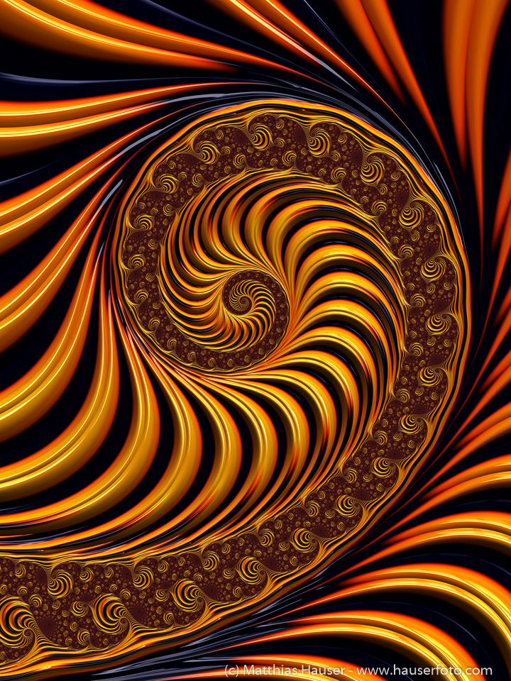 Golden Fractal Spiral Art Print for sale. Available as poster, framed fine art print, metal, acrylic or canvas print. 30 days money back guarantee. Matthias Hauser fractal-art-prints.com - Fractal Art for your Home Decor and Interior Design needs.