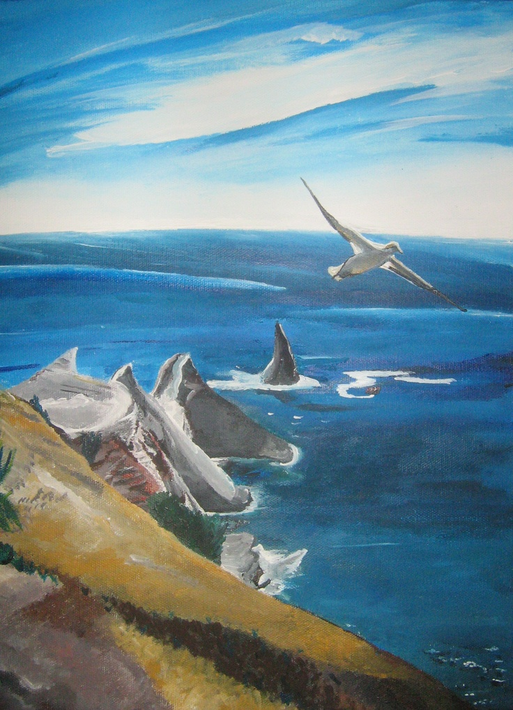 Another inspirational scene not far from Te Mata Park - Cape Kidnappers Hawkes Bay :)- Acrylics