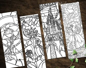 Beauty And The Beast Stained Glass Bookmarks Color Your