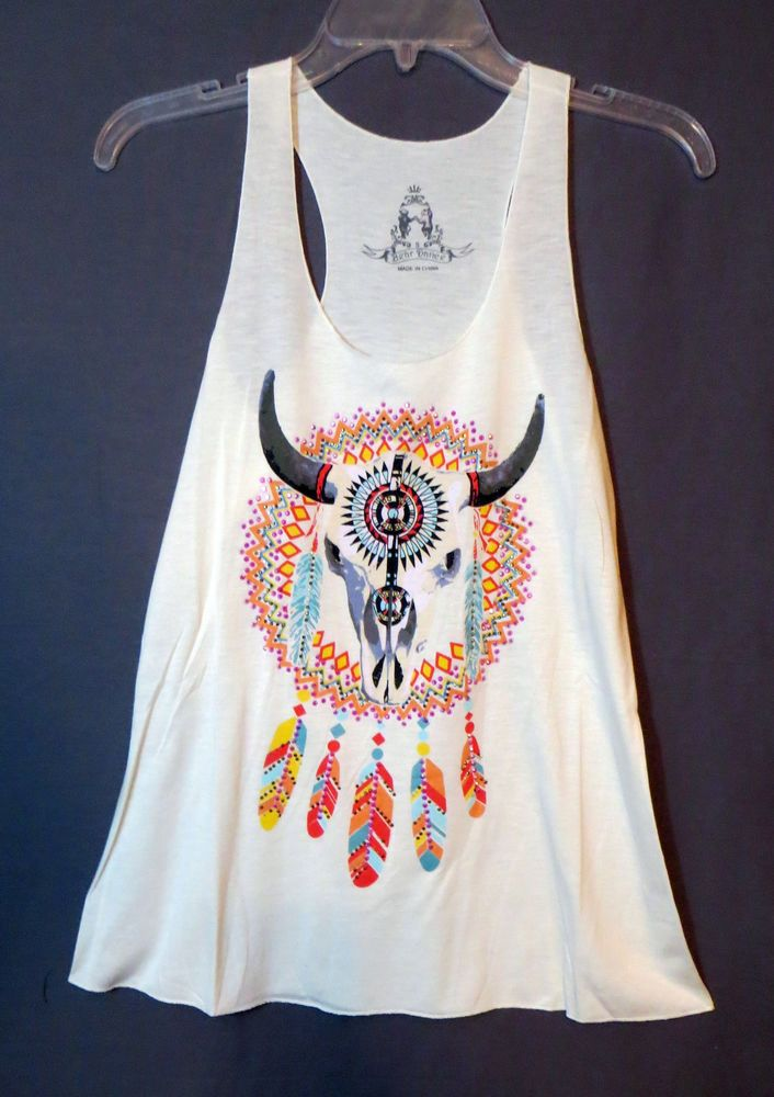 back in stock! COWGIRL gYPSY TEXAS SKULL FEATHERS DREAM CATCHER Tank Top Shirt Western Small #BEARDANCE #TANK