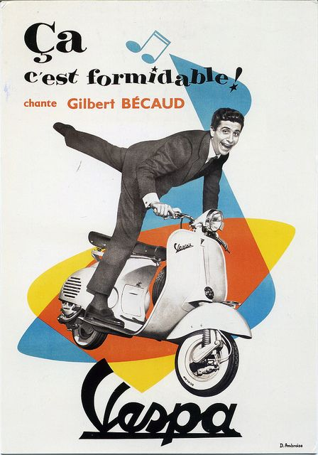 vintage vespa italian scooter poster with Gilbert Becaud