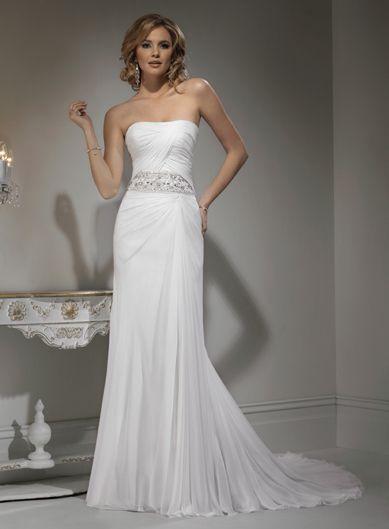 A-line Sleeveless Chiffon Floor-length bridal gown