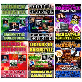 £37.49 (£44.99 inc VAT) Eighteen CDs across 6 CD packs, volumes 1 - 6, featuring the scenes BIGGEST & BEST Hardstyle Legends digitally recorded live from HUGE European Hardstyle rave events from the scene's golden era! with classic live sets full of reverse bass from: Mondello, Pavo & Zany and Technoboy, Pavo, Dana, Sam Punk, Deepack, Blutonium Boy, Activator and Technoboy, Mondello, Alpha Twins and Technoboy, Deepack & Mondello, Lady Dana and Zenith.