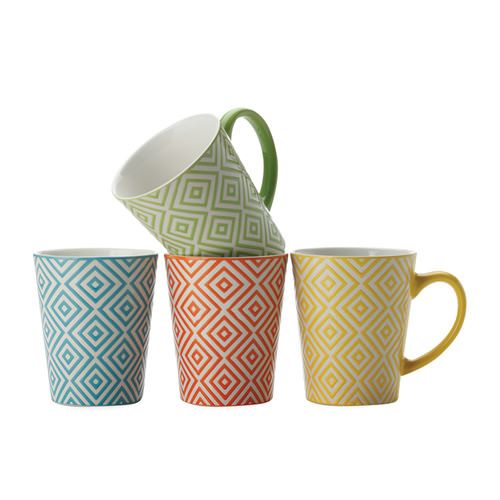 Maxwell & Williams Graphique Diamonds Mug 440ml Set of 4