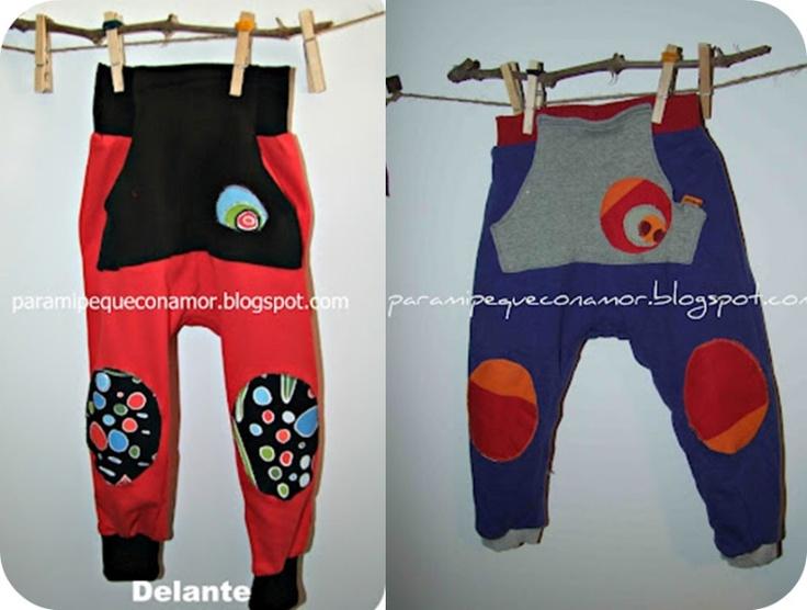 Para mi peque con amor: Pantalones bombachos. Modelo 2. Tutorial y patrón talla 3 años
