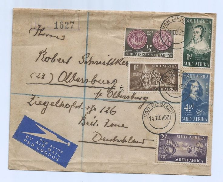 South Afrika 1952 Register Cover > British Zone Deutschland Nice Stamps Series