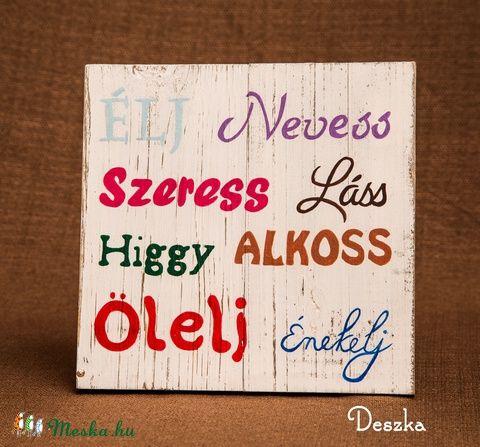 Meska - Kézzel festett, antikolt fatábla pozitív szavakkal Deszka kézművestől