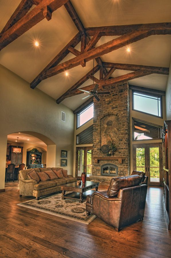 Great Rooms With Vaulted Ceilings Stone Fireplace With Vaulted Ceiling