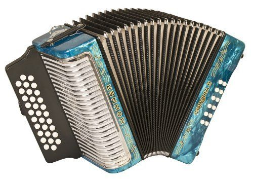 NEW HOHNER ACORDEON CORONA II LIGHT BLUE FBE 31/12 BASS BUTTON ACCORDION w/ CASE by Hohner. $1099.00. NEW HOHNER ACORDEON CORONA II LIGHT BLUE PEARL FA FBbEb 31/12 BASS BUTTON ACCORDION w/ PROTECTIVE GIG BAG  Features  The Corona II gives the professional musician the ability to own a great accordion at a more affordable price. Key Combination: FBbEb Weight: 9 lbs.