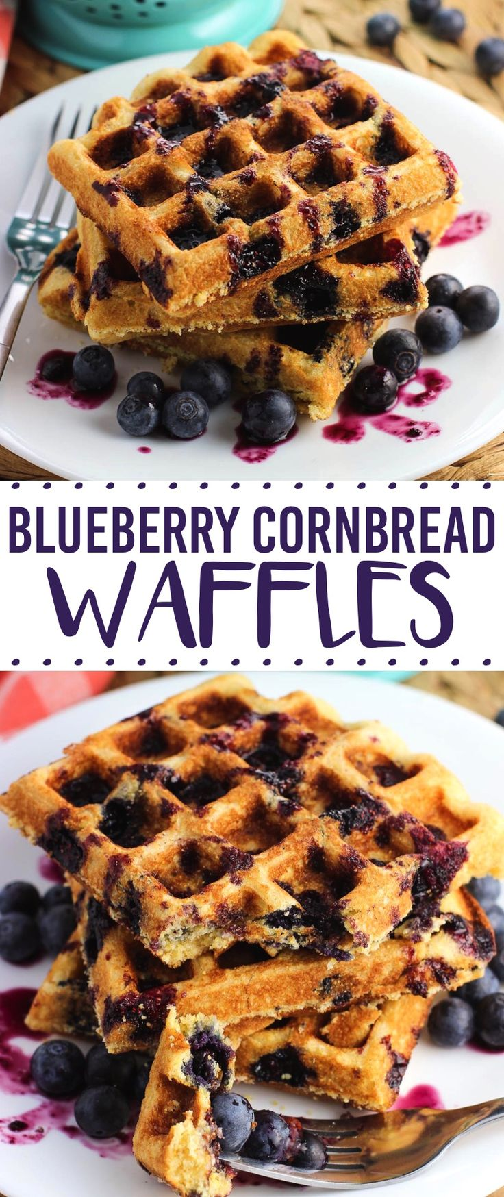 Cornbread waffles are made easy using a corn muffin mix, and feature a touch of cinnamon and fresh blueberries. The homemade blueberry maple syrup adds an extra special touch!