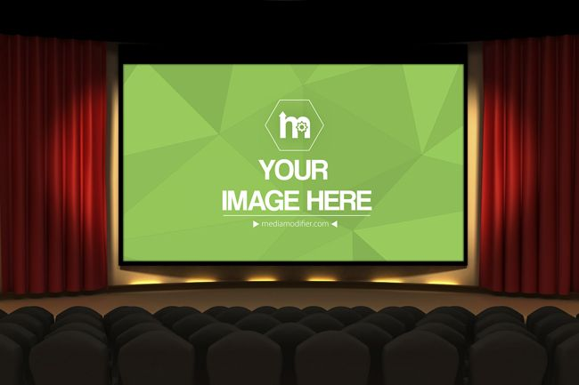 Creative online mockup generator template with an image shown on the big screen on a movie or cinema hall and seats on the background. Showcase your movie poster or advertisement idea. Promote your next big event or film idea.