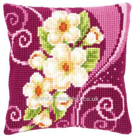 Buy Cream Flower Garland Cushion Front Chunky Cross Stitch Kit online at sewandso.co.uk