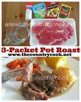 3-Packet Slow Cooker Pot Roast recipe from The Country Cook