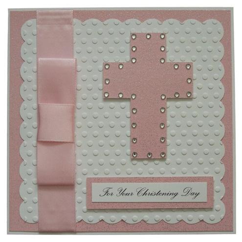 Handmade Pink Christening Card by Helle Belles Cards