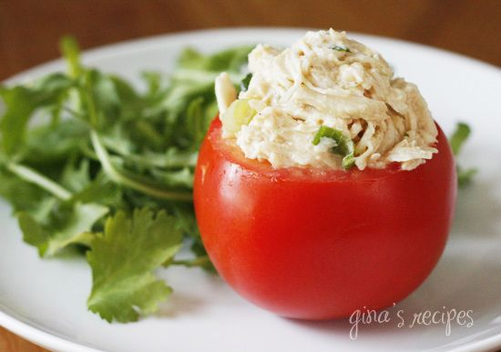 Cilantro Chicken Salad - serve in a hollowed out tomato to cut back on carbs!