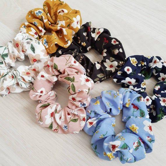 Organic Cotton Scrunchie Hair Scrunchies Boho Scrunchie Floral Scrunchie Cute Scrunchie White Floral Scrunchie Orange Scrunchie