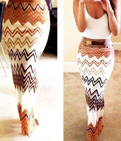 This is such a cute summer outfit! Chevron summer maxi skirt