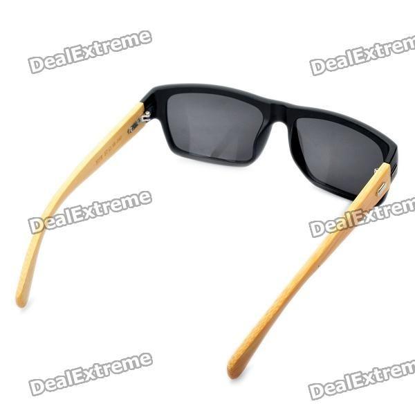 Stylish Bamboo Temple UV 400 Protection Sunglasses - Black + Wood