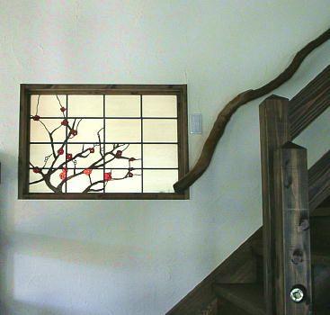 「梅の木」ステンドグラスパネル