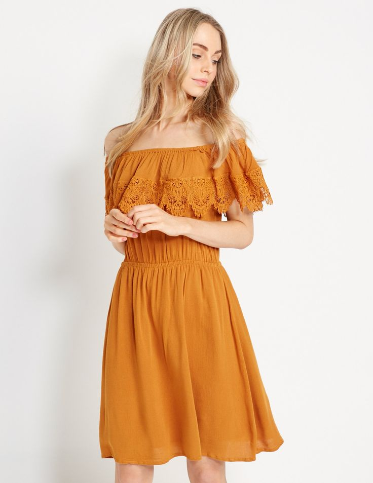 Selena Crochet Shoulder Dress   Dotti
