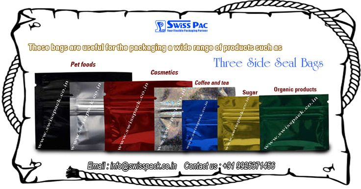 Our #ThreeSideSealBags are tightly sealed and highly appreciated by the customers for their excellent durability and leakage proof features. To inquire more visit at http://www.swisspack.co.in/three-side-seal-bags/ Three Side Seal Bags are useful for the packaging a wide range of products such as #Petfoods, #Cosmetics , #Coffee and #tea Bags, #Organic products , #Sugar, #Cheese, #Frozen products, etc.