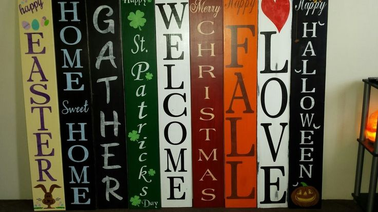 "Large Rustic Wood Vertical Porch Sign Home Sweet Home 48"" Reversible Double Side 