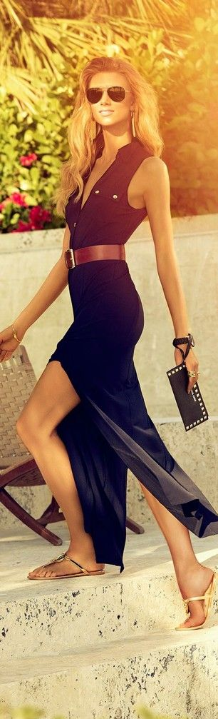 The long black dress. Aviators help the look, this would be good in navy blue too