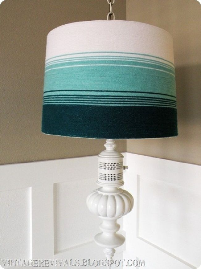 Calling it Home: Nantucket Style....DIY. The DIY is for the ombre lampshade but I am more interested in making the lamp itself. A turned bedpost section, a tin can punched with holes, and a candlestick from the thrift-store, Goodwill, or flea market perhaps? Vio~