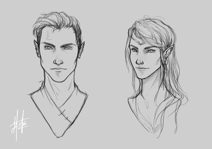 "pojainter: ""I'VE DONE IT! FINALLY managed to get Rhys out of my head properly and onto paper :) It's only taken a few attempts … Anyway, here he is with Feyre - I will colour these little head shots soon but I am very busy at the moment packing my..."