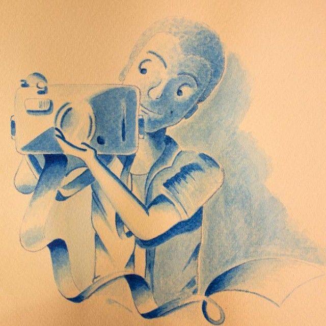 Cartoon en #acuarela inspirado en @borjabmv