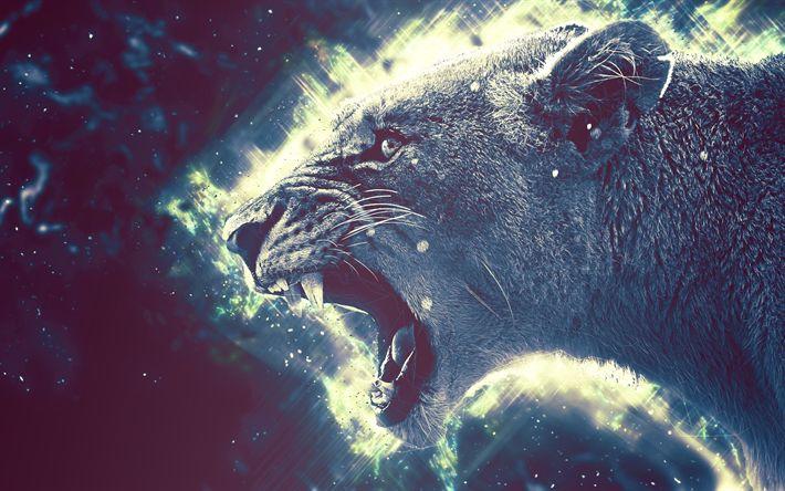 Hämta bilder lioness, 4k, rovdjur, digital konst