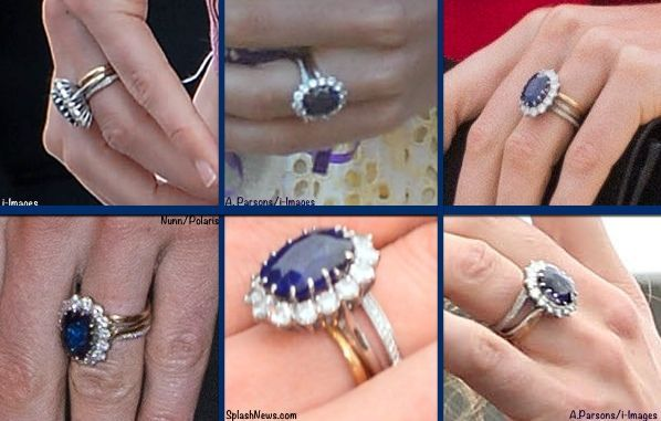 Duchess Catherine / Kate Middleton style, wearing an eternity ring in addition to her Princess Diana engagement ring