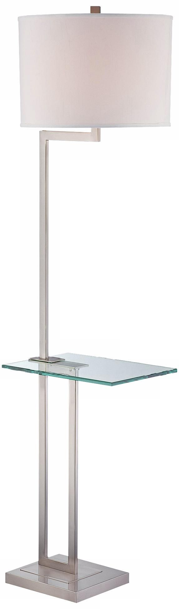 Floor lamp with tray table - Polished Steel Floor Lamp With Glass Tray Table