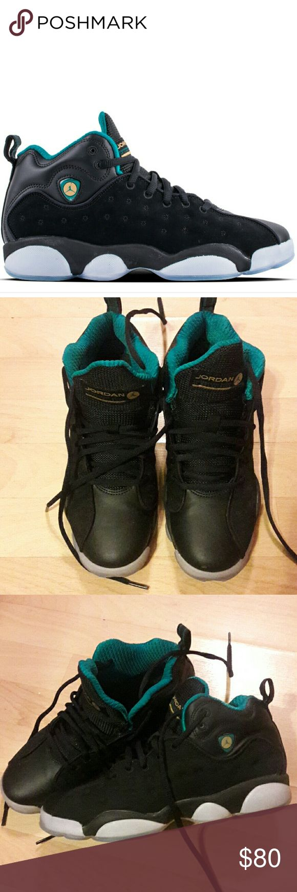 Jordan Jumpman team 2 These Jordans were worn for about a week. They are near perfect condition as you can see in pics. Except for a small scuff mark on the front of the left shoe. You can see in the pic the small scuff. There are no creases  in front of shoes. I am willing to trade for a size 8.5 pair of jordans in similar condition. I do not have original box and the blue is more of a dark turquoise color. I do consider all offers. Jordan Shoes Sneakers