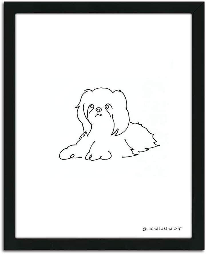 Personal Prints Shih Tzu Line Drawing Framed Wall Art