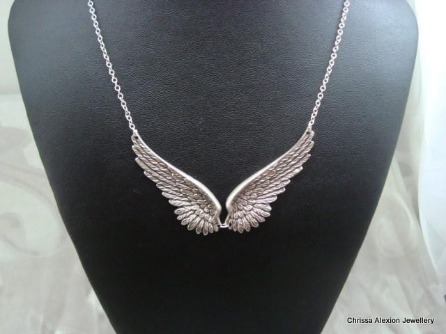 CELESTE Antique Silver Angel Wing Necklace.