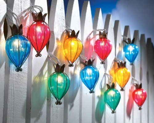 """Teardrop Outdoor String Lights By Collections Etc by Collections. $14.99. Plugs into an AC outlet. Each lantern is 4""""H and cord 119""""L. Also great to trim a window, or illuminate a porch, railing or deck. Set of 10 lanterns light up your patio. Beautifully detailed, each encased in a coppery teardrop shape. Set of 10 lanterns light up your patio, trims a window, or illuminates a porch, railing or deck. Beautifully detailed, each encased in a coppery teardrop shap..."""