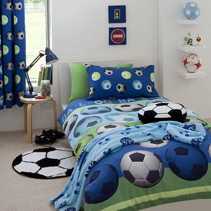 Juego Funda Nordica Futbol Azul Camas 90 y 1,35cms