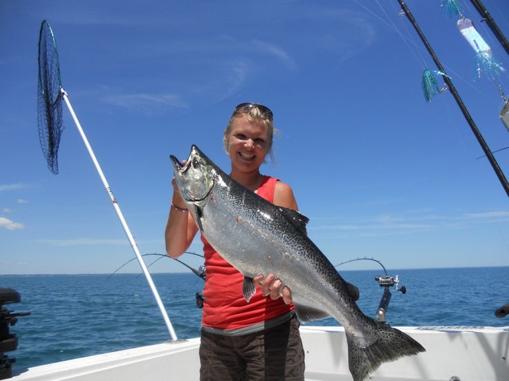 Chandra with a lake michigan king salmon fishing for Lake michigan salmon fishing