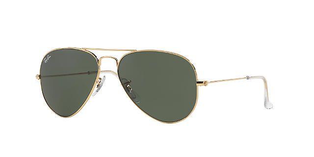 Ray-Ban RB3025 55 Gold Aviator Sunglasses | Green Lenses | Sunglass Hut