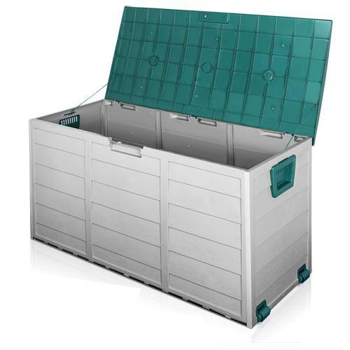 290L Plastic Outdoor Storage Box Container Weatherproof Grey Green