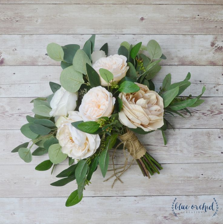 eucalyptus bouquet, peony bouquet, garden rose, cabbage rose bouquet, silk bouquet, wedding bouquet, neutral bouquet, cream, ivory, beige by blueorchidcreations on Etsy