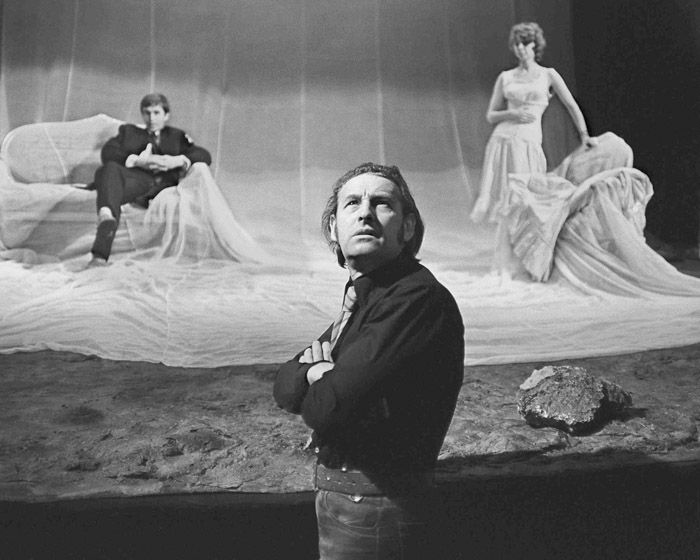 """Andrzej Wajda during a rehearsal of """"The Possessed"""" according to Fyodor Dostoyevsky, 1971, Teatr Stary in Krakow, photo: Wojciech Plewiński ..."""